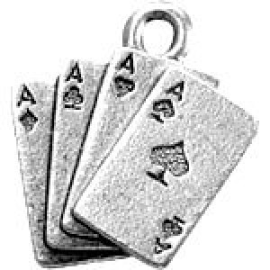 Cards Aces 17x16mm 2-Sided - Pkg of 10 Quest Beads & Cast™ Antique Pewter