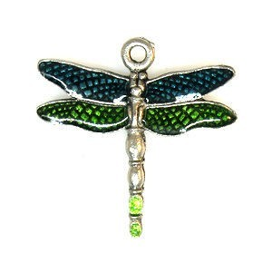 Hand Painted Green Dragonfly 24x24mm 2-Sided - Pkg of 5 Quest Beads & Cast™ Antique Pewter