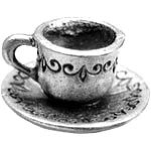 Cup & Saucer 16x16mm 3d - Pkg of 5 Quest Beads & Cast™ Antique Pewter