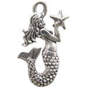 Mermaid W/Star 23x15mm 2-Sided - Pkg of 10 Quest Beads & Cast™ Antique Pewter