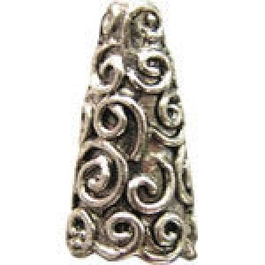 Wire Swirls Bead Cap 18x7mm Fits 8-10mm Beads - Pkg of 5 Quest Beads & Cast™ Antique Pewter