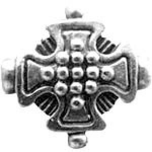 Cross Bead W/Rays 13x13mm - Pkg of 10 Quest Beads & Cast™ Antique Pewter