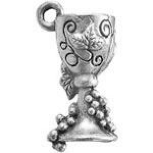 Wine Glass W/Grapes 18x11mm 3d - Pkg of 5 Quest Beads & Cast™ Antique Pewter