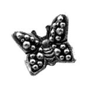 Granulated Butterfly Bead 8x9mm - Pkg of 10 Quest Beads & Cast™ Antique Pewter