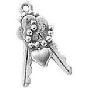 Keys W/Heart 22x15mm 1-Sided - Pkg of 10 Quest Beads & Cast™ Antique Pewter