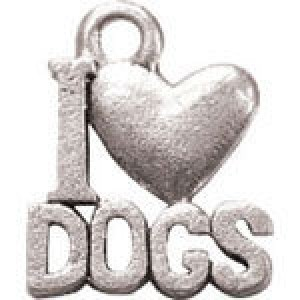 I Love Dogs 16x13mm 1-Sided - Pkg of 10 Quest Beads & Cast™ Antique Pewter