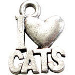I Love Cats 16x12mm 1-Sided - Pkg of 10 Quest Beads & Cast™ Antique Pewter