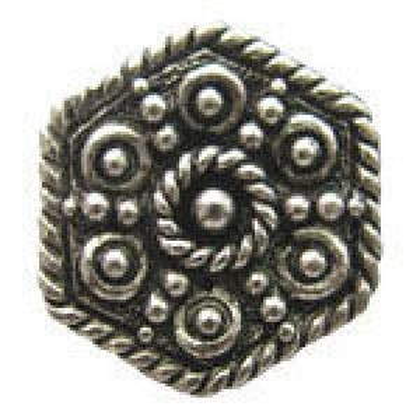 Hexagon Bead 11.5x9.5mm (2.25mm Hole) - Pkg of 5 Quest Beads & Cast™ Antique Pewter