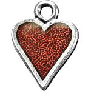 Hand Painted Heart 17x13mm - Pkg of 5 Quest Beads & Cast™ Antique Pewter