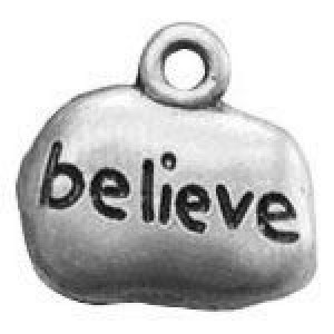 Believe Tag 14x14mm 1-Sided - Pkg of 10 Quest Beads & Cast™ Antique Pewter