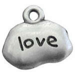 Love Tag 13x14mm 1-Sided - Pkg of 10 Quest Beads & Cast™ Antique Pewter