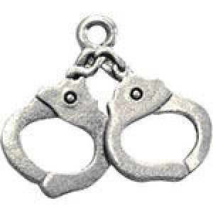 Handcuffs 20x18mm 1-Sided - Pkg of 10 Quest Beads & Cast™ Antique Pewter