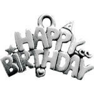 Happy Birthday 16x21mm 1-Sided - Pkg of 10 Quest Beads & Cast™ Antique Pewter