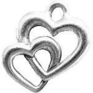 Interlinked Hearts 16x15mm 2-Sided - Pkg of 10 Quest Beads & Cast™ Antique Pewter