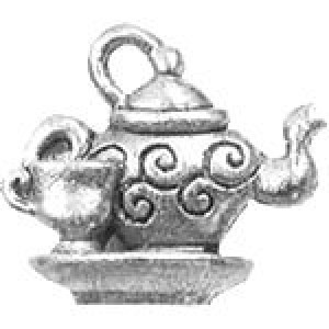 Tea Pot W/Cup 15x17mm 3d - Pkg of 5 Quest Beads & Cast™ Antique Pewter