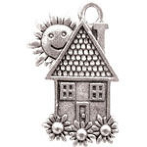 Home W/Sun 23x15mm 1-Sided - Pkg of 10 Quest Beads & Cast™ Antique Pewter