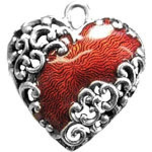 Hand Painted Heart 23x21mm - Pkg of 5 Quest Beads & Cast™ Antique Pewter