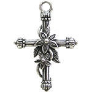 Cross W/Flowers 28x19mm 1-Sided - Pkg of 5 Quest Beads & Cast™ Antique Pewter