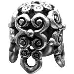 Helmet Filigree Bead Cap 12.5x8mm Fits Pear Shaped Beads - Pkg of 5 Quest Beads & Cast™ Antique Pewter