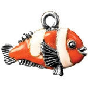 Hand Painted Clown Fish 15x21mm - Pkg of 5 Quest Beads & Cast™ Antique Pewter
