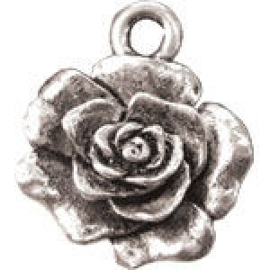 Rose 17x15mm 1-Sided - Pkg of 10 Quest Beads & Cast™ Antique Pewter