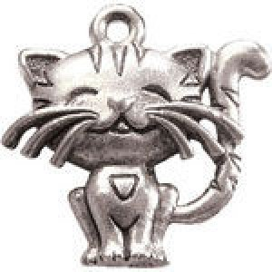 Cute Cat 19x19mm 1-Sided - Pkg of 5 Quest Beads & Cast™ Antique Pewter