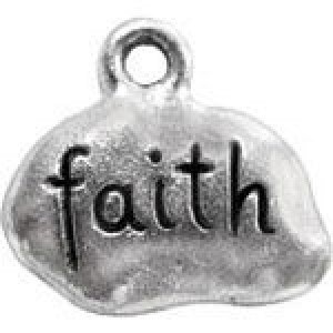 Faith Tag 11x14mm 1-Sided - Pkg of 10 Quest Beads & Cast™ Antique Pewter