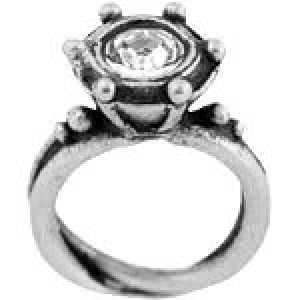 Ring W/ Stones 11x16mm - Pkg of 5 Quest Beads & Cast™ Antique Pewter