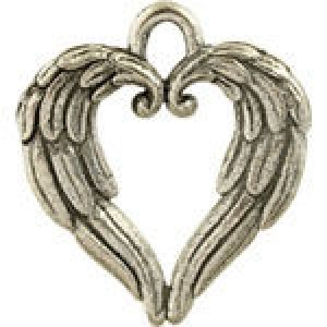 Angel Wings Heart 17.5x20mm - Pkg of 5 Quest Beads & Cast™ Antique Pewter