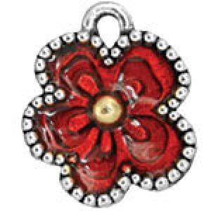 Hand Painted Flower 13x15.5mm - Pkg of 5 Quest Beads & Cast™ Antique Pewter