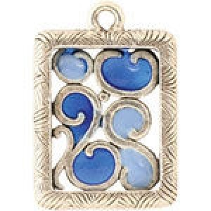 Hand Painted Rectangular Picture Frame Charm 16.5x24mm - Pkg of 5 Quest Beads & Cast™ Antique Pewter