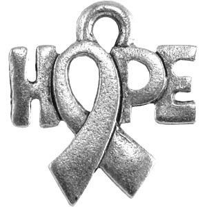 Hope W/Awareness Ribbon 14x15mm - Pkg of 20 Quest Beads & Cast™ Antique Pewter
