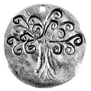Tree of Life on Disc 25mm Diameter 1-Side - Pkg of 5 Quest Beads & Cast™ Antique Pewter