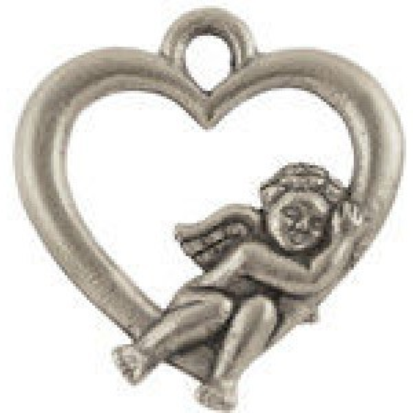 Heart W/Cherub - Pkg of 10 Quest Beads & Cast® Antique Pewter
