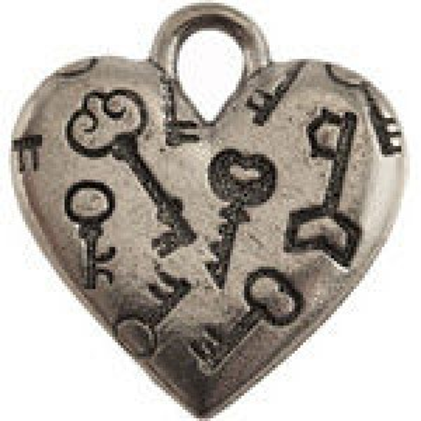 Heart W/Engraved Keys 18x19mm - Pkg of 5 Quest Beads & Cast® Antique Pewter