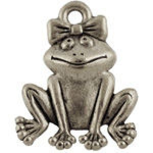 Cute Frog W/Bow 14x18mm - Pkg of 10 Quest Beads & Cast® Antique Pewter