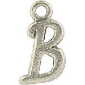 B Hanging Letter Charm 8x14mm - Pkg of 10 Quest Beads & Cast™ Antique Pewter