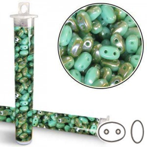 2.5x5mm SuperDuo™ (Smooth Outline) 2-Hole Green Turquoise Celsian Bead - Apx 24 Gram Vial