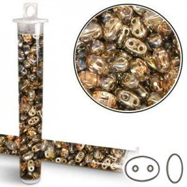 2.5x5mm SuperDuo™ (Smooth Outline) 2-Hole Crystal Capri Bead - Apx 24 Gram Vial