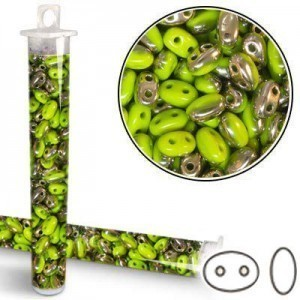 2.5x5mm SuperDuo™ (Smooth Outline) 2-Hole Frosted Green Opaque Capri Bead - Apx 24 Gram Vial