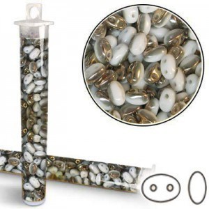 2.5x5mm SuperDuo™ (Smooth Outline) 2-Hole Frosted Chalk Capri Bead - Apx 24 Gram Vial