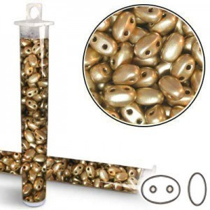 2.5x5mm SuperDuo™ (Smooth Outline) 2-Hole Matte Gold Bead - Apx 24 Gram Vial