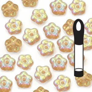 5mm Frosted Smoked Topaz AB Buttercup™ Flower Bead with Center Hole (Apx 8gm / 100pc Vial)