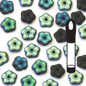 5mm Frosted Jet AB Buttercup™ Flower Bead with Center Hole (Apx 8gm / 100pc Vial)