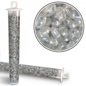 2.5x5mm Preciosa® Twin Bead Crystal Gray Pearl - Apx 24 Gram Vial (Apx 450 Pcs)