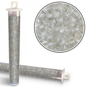 2.5x5mm Preciosa® Twin Bead Crystal White Color Lined - Apx 24 Gram Vial (Apx 450 Pcs)