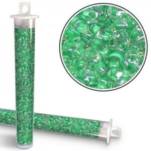2.5x5mm Preciosa® Twin Bead Crystal Lt Green Color Lined - Apx 24 Gram Vial (Apx 450 Pcs)