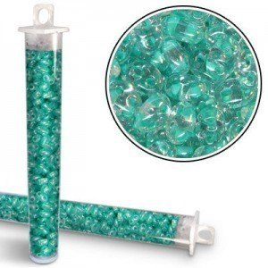 2.5x5mm Preciosa® Twin Bead Crystal Green Color Lined - Apx 24 Gram Vial (Apx 450 Pcs)