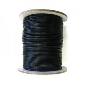 1mm Black Waxed Cotton Cord 100m(328ft) Spool