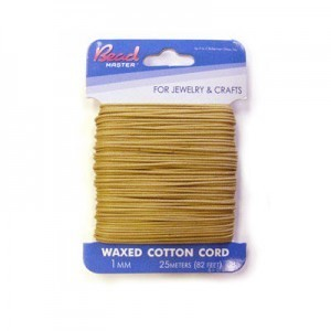 2mm Beige Waxed Cotton Cord 15m (49.2ft) X 6 Cards